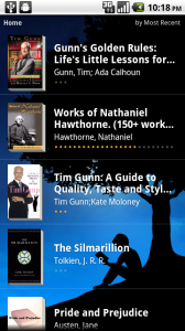 Kindle for Android homescreen